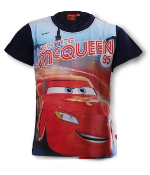 Disney Pixar Cars Boys Blue Short Sleeve T-Shirt Top Age 3 to 8 Years - Character Direct