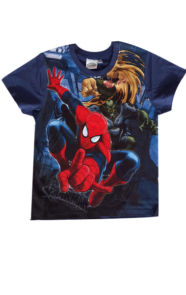 Marvel Spiderman Boys Short Sleeve T-Shirt Top Age 2 to 8 Years - Character Direct