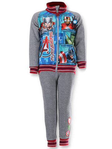 Marvel Boys Avengers Iron Man Capt America Print Fleece Lined Tracksuit Trackpant  Jogger Age 4 to 12 Years in Grey - Character Direct