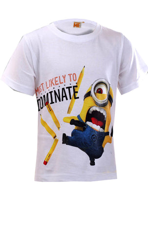 Despicable Me Boys Minions Short Sleeve T-shirt Top Age 6 to 12 Years in White - Character Direct