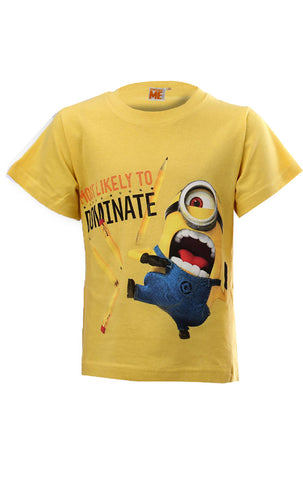 Despicable Me Boys Minions Short Sleeve T-shirt Top Age 6 to 12 Years in Yellow - Character Direct