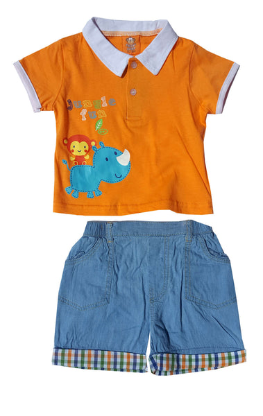 Kids Boys Cheeky Chimp Top and Short Set Age 3 to 18 Months - Character Direct