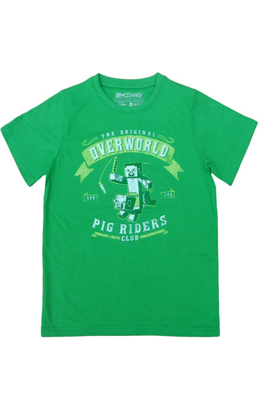 Minecraft Boys Overworld Pig Riders Club Short Sleeve T-Shirt Top Age 7 to 14 Years - Character Direct