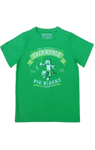 Minecraft Boys Overworld Pig Riders Club Short Sleeve T-Shirt Top Age 7 to 14 Years - CharacterDirect