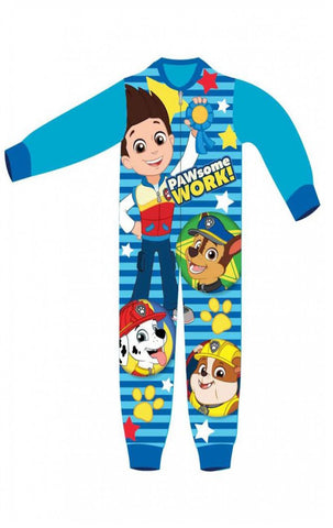 Boys Licensed Paw Patrol Ryder Chase Marshall Micro Fleece Onesies Age 2 to 6 Years - Character Direct