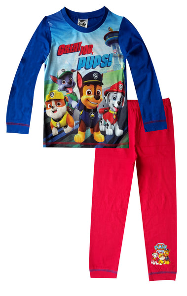 Boys Paw Patrol Printed Snuggle Fit Long Length Pyjamas 1.5 To 5 Years - Character Direct