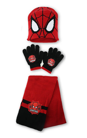 Boys Official Licensed Spiderman Gloves , Beanie Hat & Scarf Set One size 4-10 Years - Character Direct