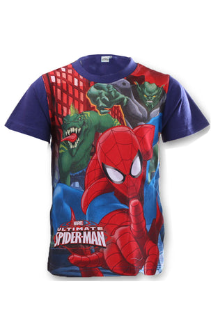 Marvel Spiderman Boys Short Sleeve T-Shirt Top Age 3 to 8 Years - CharacterDirect