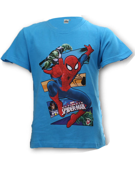 Marvel Spiderman Boys Short Sleeve Light Blue T-Shirt Top Age 3 to 9 Years - Character Direct