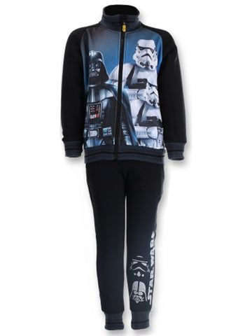 Official Licenced Boys Star Wars Print Fleece Lined Tracksuit Trackpant  Jogger Age 4 to 12 Years in Black - Character Direct