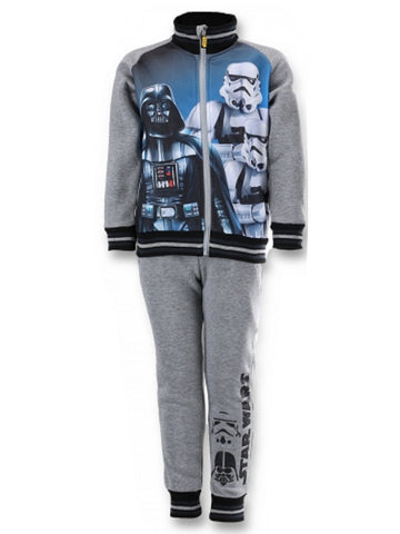 Official Licenced Boys Star Wars Print Fleece Lined Tracksuit Trackpant  Jogger Age 4 to 12 Years in Grey - Character Direct