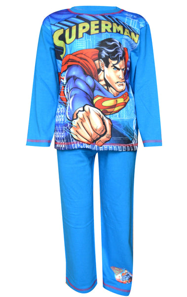 Boys Superman Long Length Sublimation Print Pyjamas Age 4 to 10 Years - Character Direct