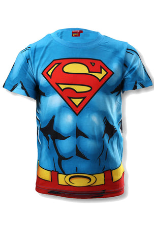 Official Superman Boys Costume Print Tshirt Top Age 3 to 8 Years - Character Direct
