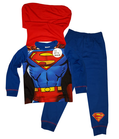 Boys Superman Novelty Pyjama With Cape 2 to 8 Years - Character Direct