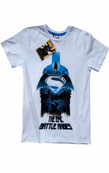 Boys Batman Vs Superman Print White Tshirt Top Age 9 to 14 Years - Character Direct