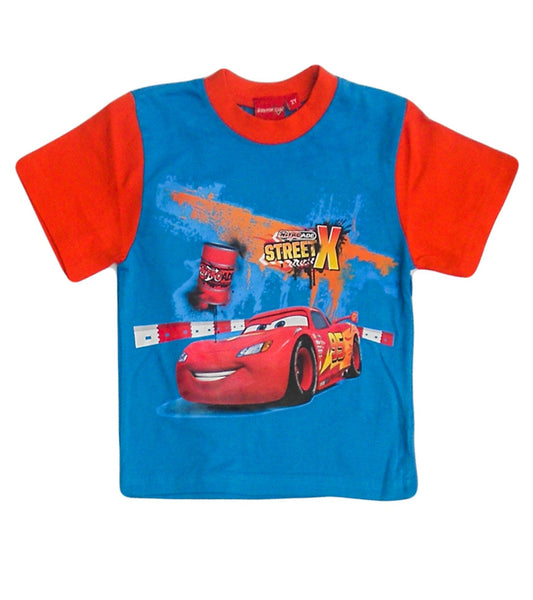 Disney Pixar Cars Boys Blue Red Short Sleeve T-Shirt Top Age 2-8 Years - Character Direct