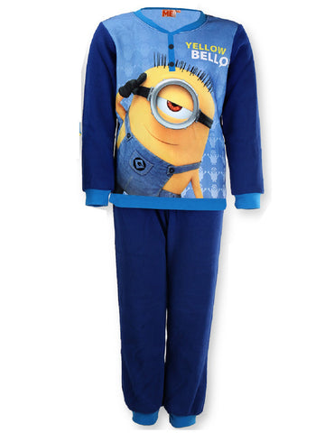 Boys Despicable Me Minions Micro Fleece Polar Long Length Pyjamas 4 years up to 12 years - Character Direct