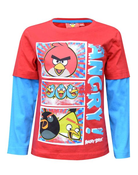 Angry Bird Boys Long Sleeve Printed Cotton T-Shirt Top Age 4 to 10 Years in Red - Character Direct