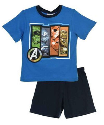 Marvel Avengers Boys Capt America Print Short Pyjamas 3 to 10 Years - Character Direct