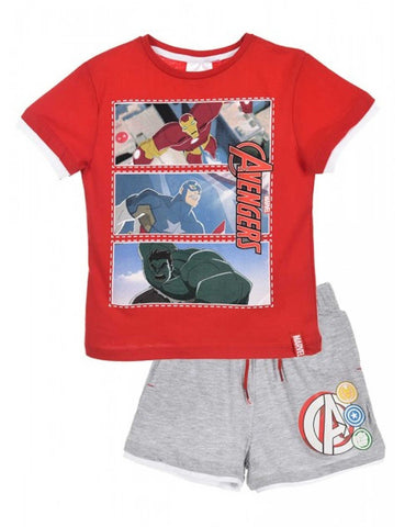 Marvel Avengers Boys Capt America Print Short Pyjamas 3-10 Years - Character Direct