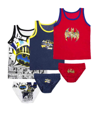 Boys Official Batman 6 Piece Vest and Knicker Underwear Set Age 2 to 8 Years - Character Direct