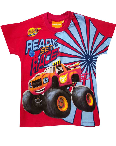 Boys Official Blaze and the Monster Machine Cotton Tshirt in Red Age 2-8 Years - Character Direct
