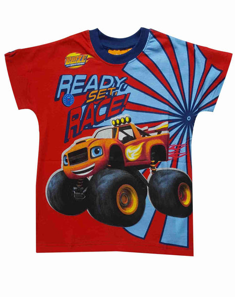 Boys Official Blaze and the Monster Machine Cotton Tshirt in Navy Age 2-8 Years - Character Direct