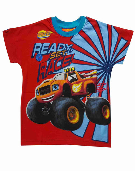 Boys Official Blaze and the Monster Machine Cotton Tshirt in Blue Age 2-8 Years - Character Direct