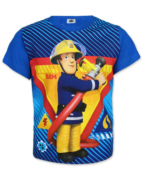Boys Fireman Sam Short Sleeve Short Sleeve T-Shirt Age 2,3,4,5,6,7,8 Years - Character Direct