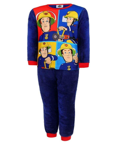 Boys Fireman Sam Printed Fleece Polar Long Length Pyjamas Age 3 to 8 Years - Character Direct