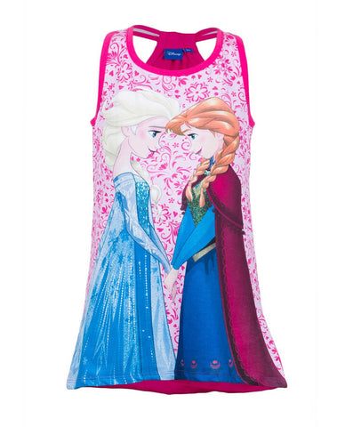 Girls Frozen Printed Sleeveless Cotton Dress Age 3 to 8 Years - Character Direct