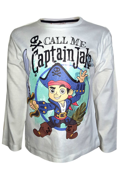 Disney Boys Jake and the Never Land Pirates Printed Cotton T-Shirt Top Age 3 to 6 Years - Character Direct