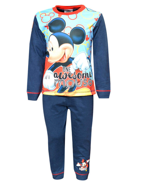 Boys Official Licensed Mickey Mouse Long Length Pyjamas Age 1 to 4 Years - Character Direct