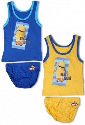 Boys Official Minions Vest and Knicker Underwear Set Age 3 to 10 Years - Character Direct