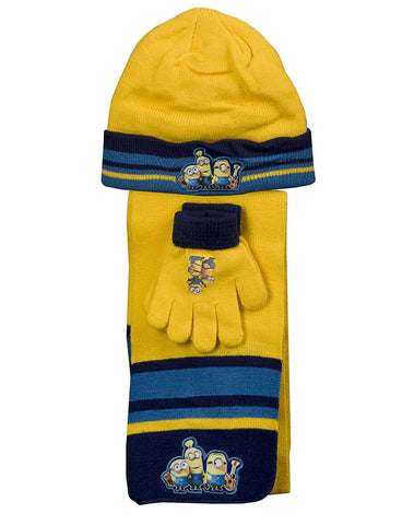 Official Boys Despicable Me Minions Gloves , Beanie Hat & Scarf Set One size 3-7 Years - Character Direct