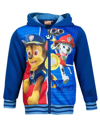 Boys Girls Paw Patrol Ryder Chase Marshall Print  Zipped Jumper Sweater 2 to 8 Yrs - Character Direct