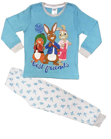 Boys Peter Rabbit Cotton Pyjamas in Blue 3-6 Years
