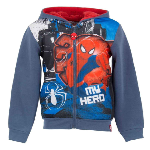 Boys Spiderman Hooded Zipped Hooded Top Sweaters Jacket Age 2 to 8 Years - Character Direct