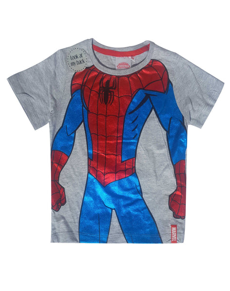 Marvel Spiderman Boys Short Long Sleeve T-Shirt Age 3 to 8 Years - Character Direct