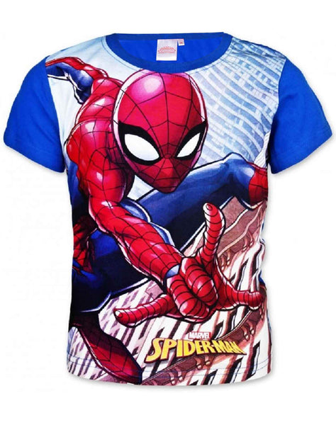 Marvel Spiderman Boys Short Long Sleeve T-Shirt in Blue Age 2 to 8 Years - Character Direct
