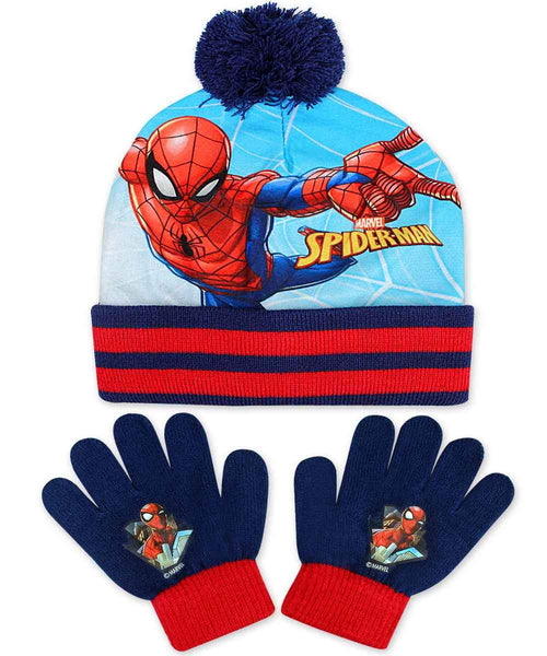 Official Boys Marvel Spiderman Gloves and Beanie Hat Set One size 3-8 Years - Character Direct
