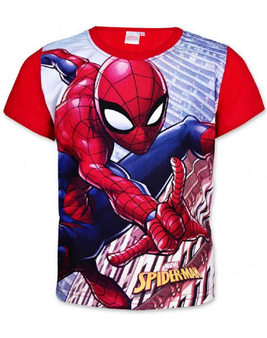 Marvel Spiderman Boys Short Long Sleeve T-Shirt in Red Age 2 to 8 Years - Character Direct