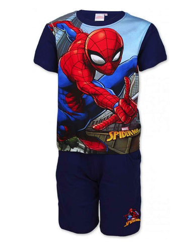 Boys Official Spiderman Short Pyjamas Beach Set in Navy Age 3 to 8 Years - Character Direct