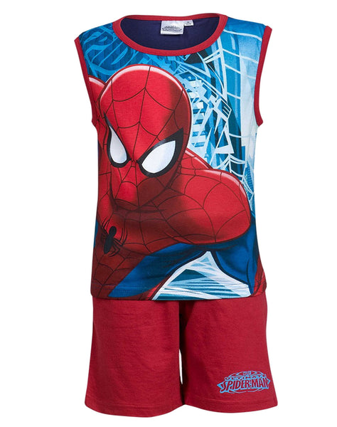 Boys Official Spiderman Sleeveless Short Pyjamas Beach Set Age 3 to 8 Years - Character Direct