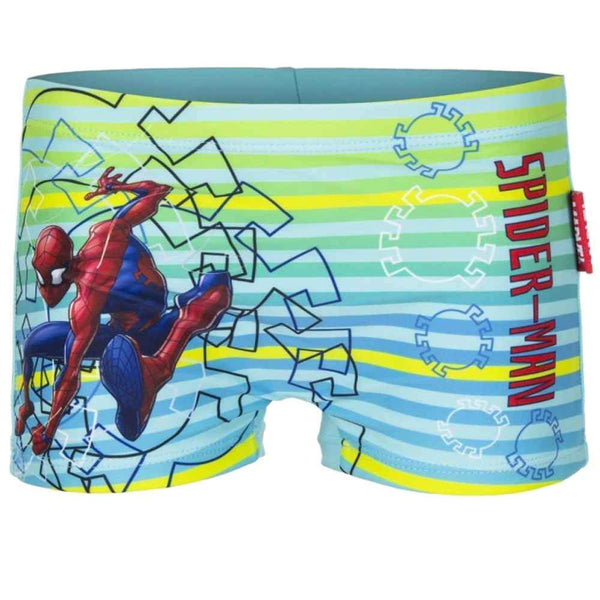 Boys Official Licensed Spiderman Stripe Print Swim Shorts Age 2 to 8 Years - Character Direct