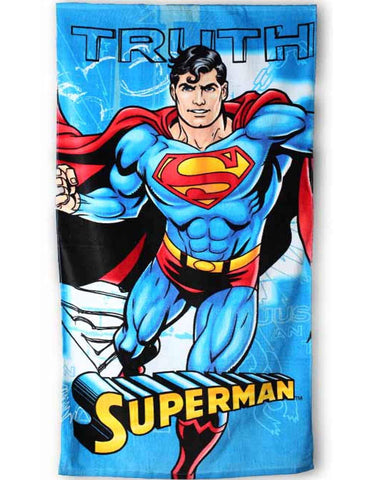 Kids Boys Offical Licensed Superman Cotton Towel 140X70 cms - Character Direct
