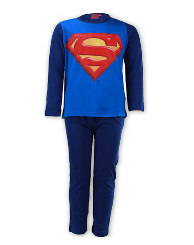 Boys Official Superman Long Length Cotton Print Pyjamas Age 6 to 12 Years - Character Direct