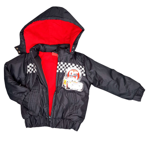 Boys Cars Puffa Hooded Black Jacket 3 to 8 Years in Black - Character Direct