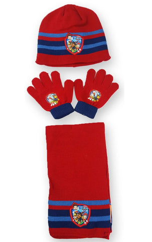 Boys Nickelodeon Official Licensed Paw Patrol Gloves , Beanie Hat & Scarf Set One size 4-10 Years - Character Direct