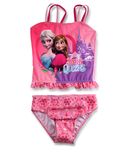 Official Disney Frozen Girls Frill Detail Swimwear Two Piece Swim Suit Age 2-8 Years - Character Direct
